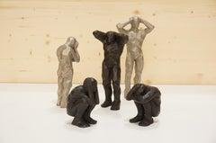 Politique de l'Autruche (Ostrich Politics) bronze sculpture set of 5 figures