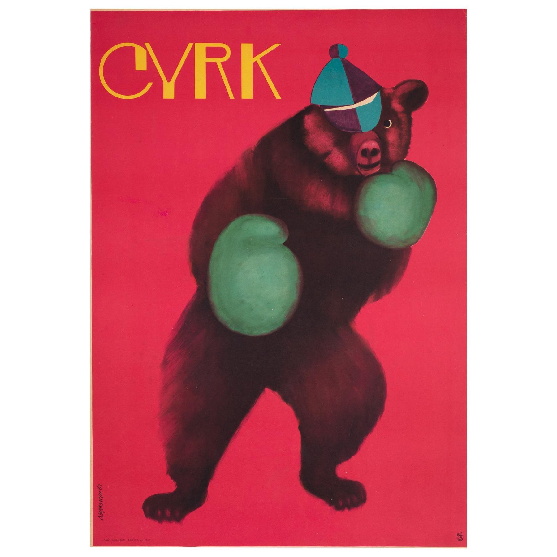 Cyrk Boxing Bear 1962 Polish Circus Poster, Onegin-Dabrowski, Linen Backed