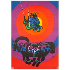 Cyrk Circus Cowboy Acrobat R1976 Polish Circus Poster, Bocianowski