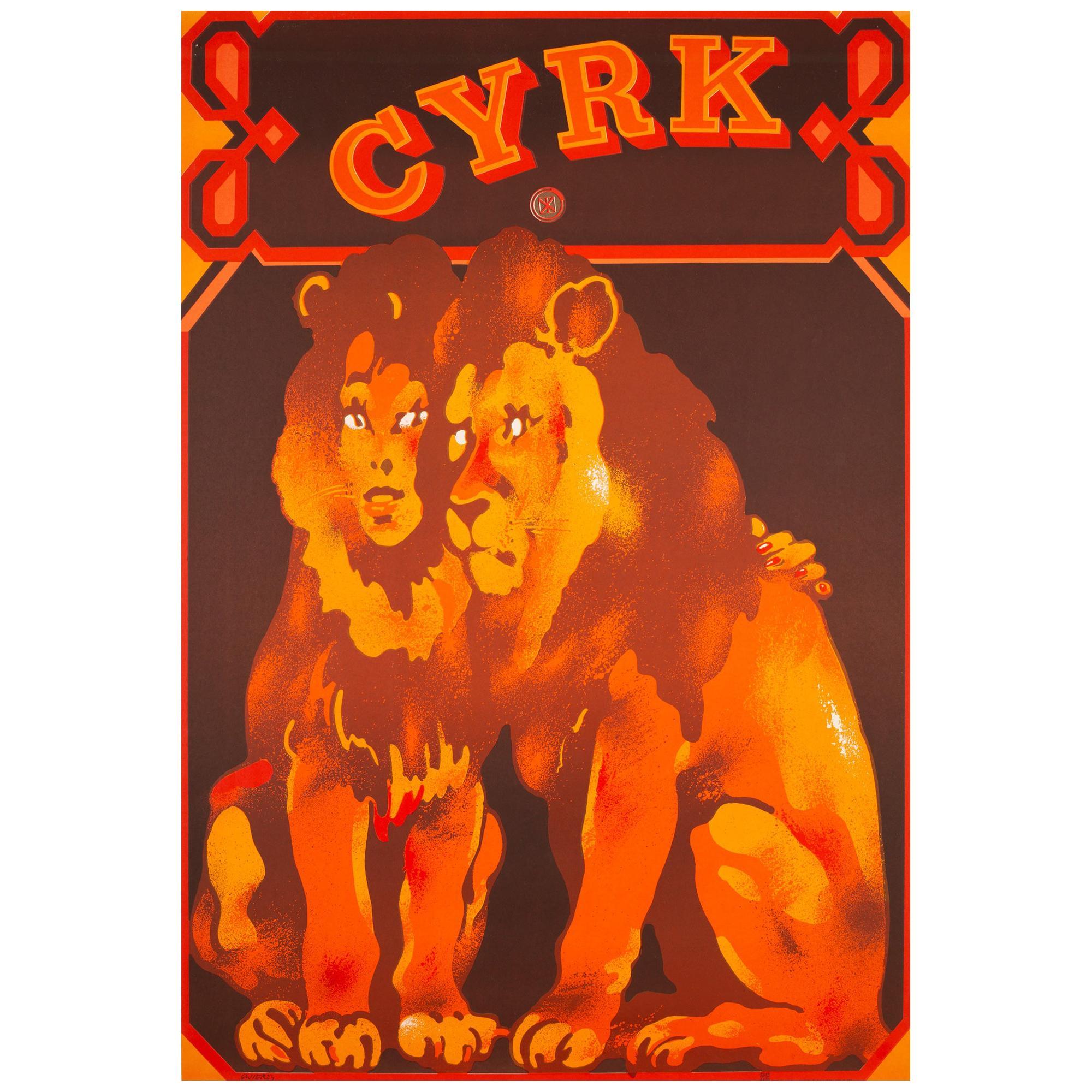 Cyrk Lion Lovers 1975 Polish Circus Poster, Swierzy