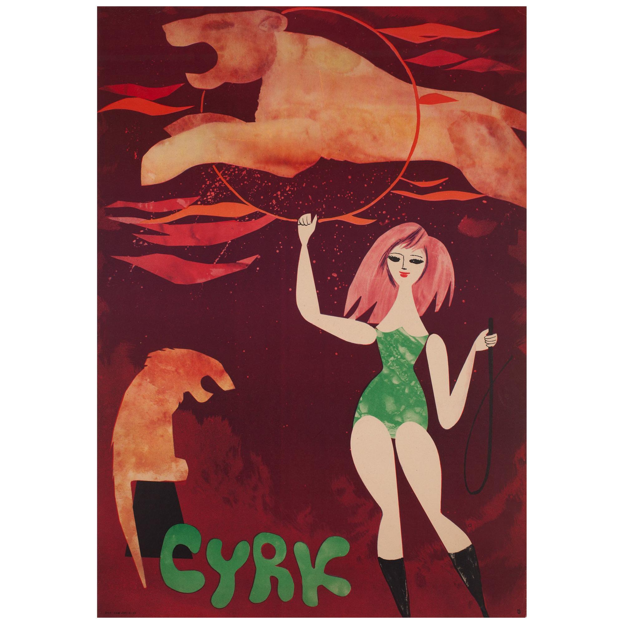 CYRK Lion Tamer 1960s Polish Circus Poster, Srokowski