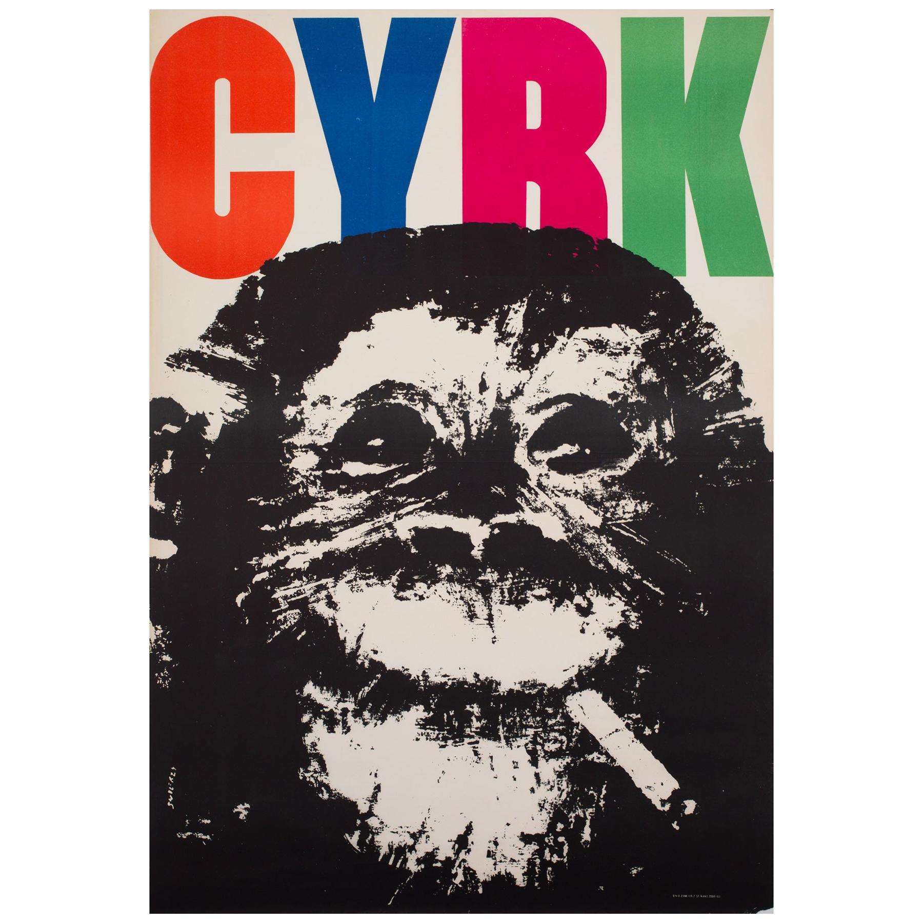 Cyrk Smoking Chimpanzee 1964 Polish Circus Poster, Swierzy