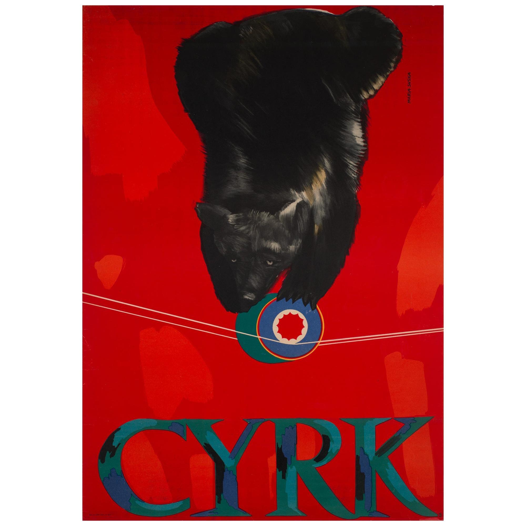 CYRK Tightrope Balancing Bear 1960s Polish Circus Poster, Syska