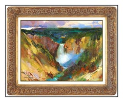 Cyrus Afsary Oil Painting On Canvas Original Yellowstone Landscape Signed Art
