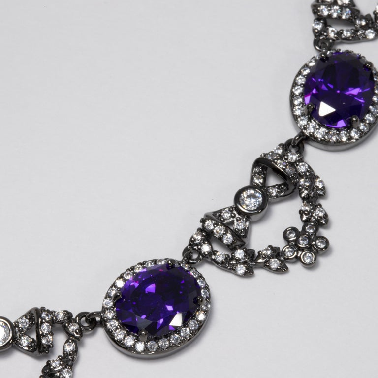 CZ by Kenneth Jay Lane Amethyst Crystal Necklace with Bow Motifs In New Condition For Sale In Milford, DE