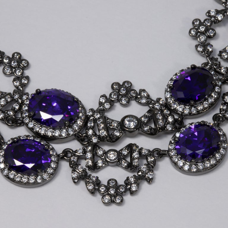 Women's or Men's CZ by Kenneth Jay Lane Amethyst Crystal Necklace with Bow Motifs For Sale