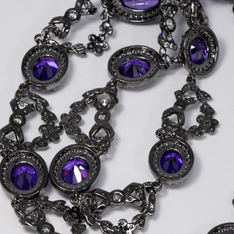 CZ by Kenneth Jay Lane Amethyst Crystal Necklace with Bow Motifs For Sale 1
