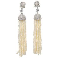 CZ By Kenneth Jay Lane Fresh Water Pearl Danglig Cubic Zirconia Clip Earrings