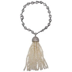 CZ By Kenneth Jay Lane Fresh Water Pearl Tassel Charm Cubic Zirconia Bracelet