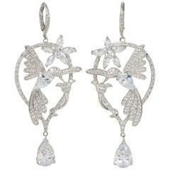 CZ By Kenneth Jay Lane Glittering Flowers Danglig Cubic Zirconia Earrings