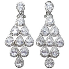 CZ by KJL Kenneth Jay Lane Cascading Clear Pear Crystal Earrings in Silver