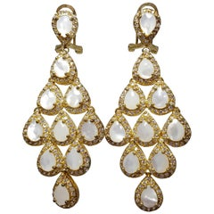 CZ by KJL Kenneth Jay Lane Cascading Opaque Pear Crystal Earrings in Gold