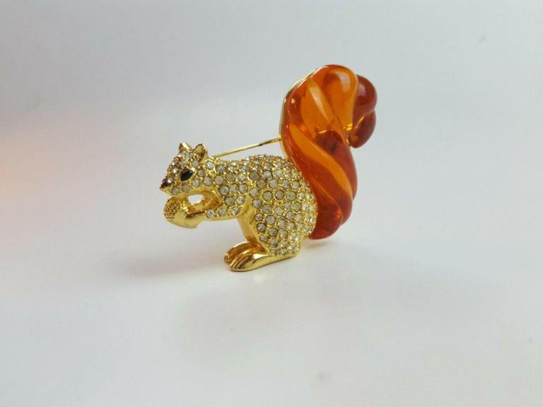 Swarovski Rhinestone & Amber Lucite Squirrel Nolan Miller Brooch Pin Estate Find For Sale 5