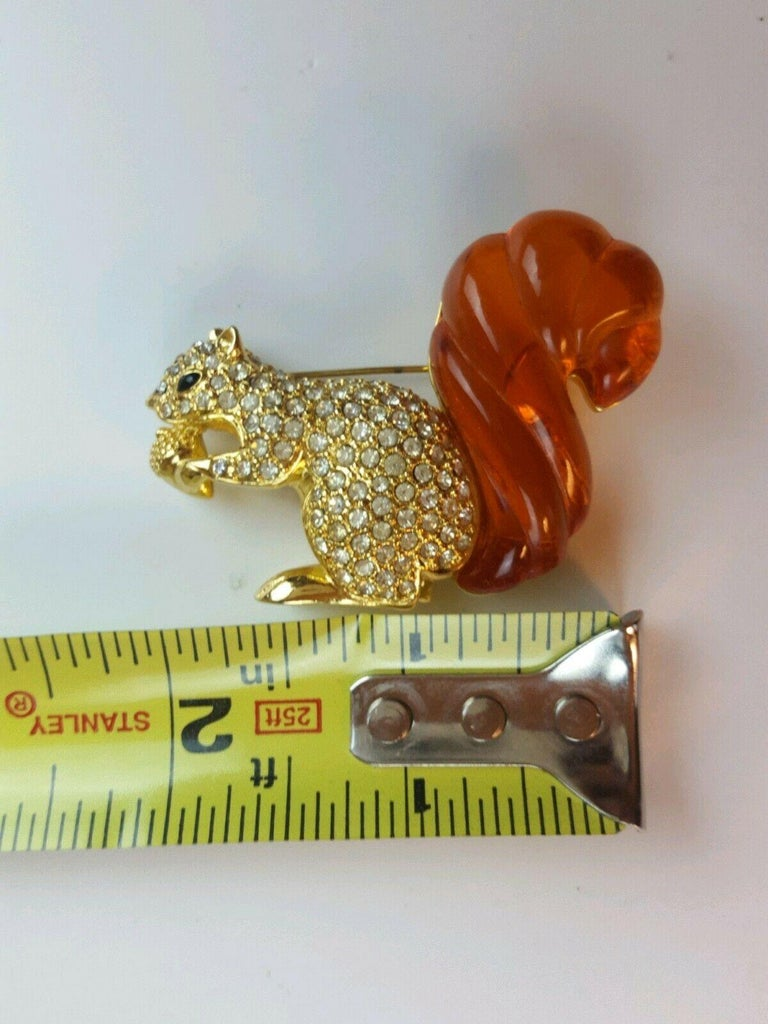 Swarovski Rhinestone & Amber Lucite Squirrel Nolan Miller Brooch Pin Estate Find For Sale 3