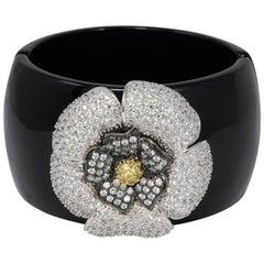 CZ KJL Cubic Zirconia by Kenneth Jay Lane Pave Crystal Flower Bangle Bracelet