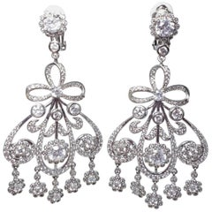 CZ KJL Kenneth Jay Lane Pave Girondelle Clear Crystal Clip On Earrings in Silver