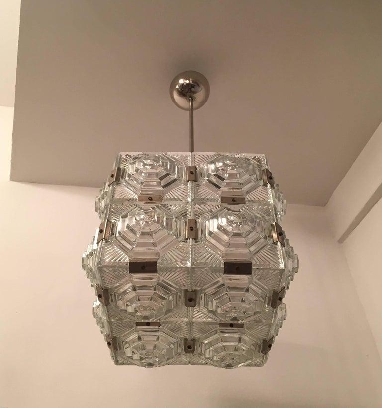 Mid-Century Modern Czech 1960 Crystal Pendant Kamenicky Senov For Sale