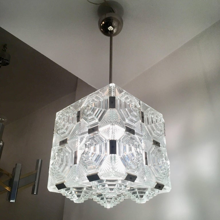 Mid-20th Century Czech 1960 Crystal Pendant Kamenicky Senov For Sale