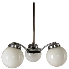 Czech Art Deco Chromed Metal and Glass Pendant Lamp from Napako