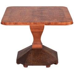 Czech Art Deco Conference Table, Veneer Walnut, Brass Leg