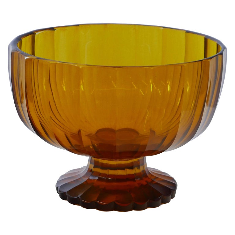 Czech Art Deco Cut Crystal Bowl For Sale