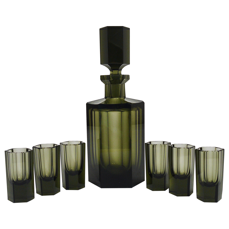 Czech Art Deco Ludwig Moser Karlsbad Bottle and Glasses 1920s Liquor Bar Set