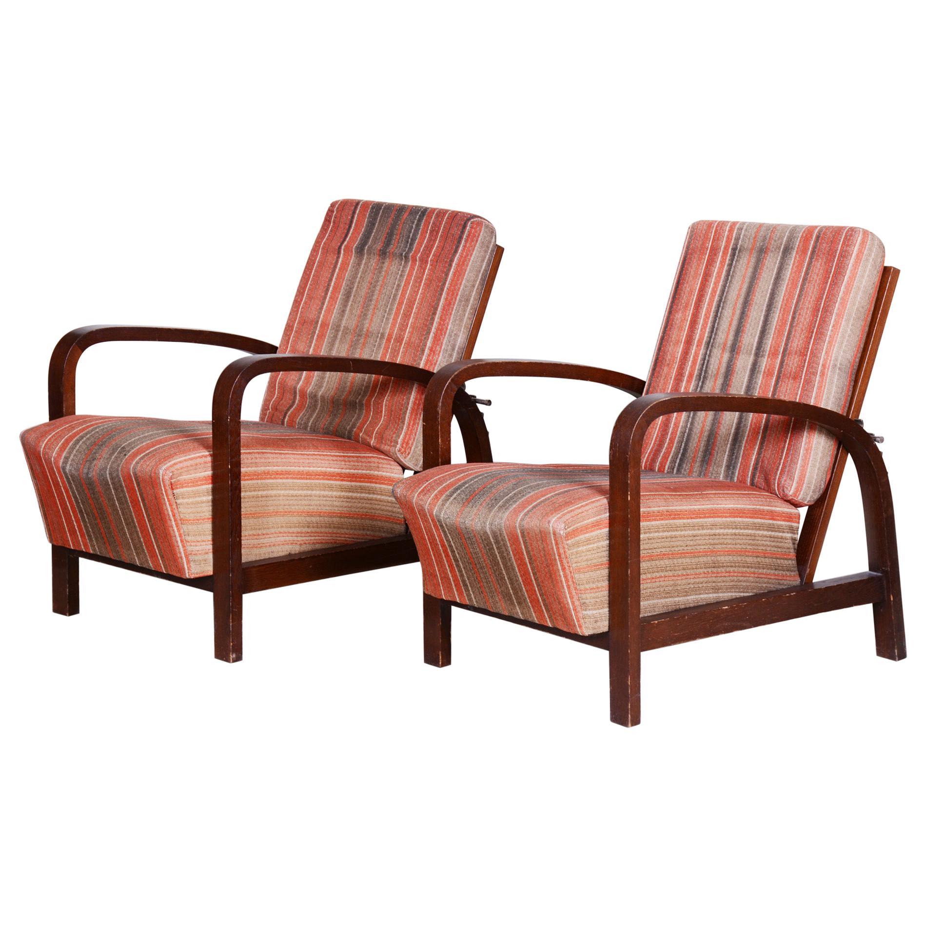 Czech Art Deco Oak Armchairs 1930s, Original Well Preserved Condition