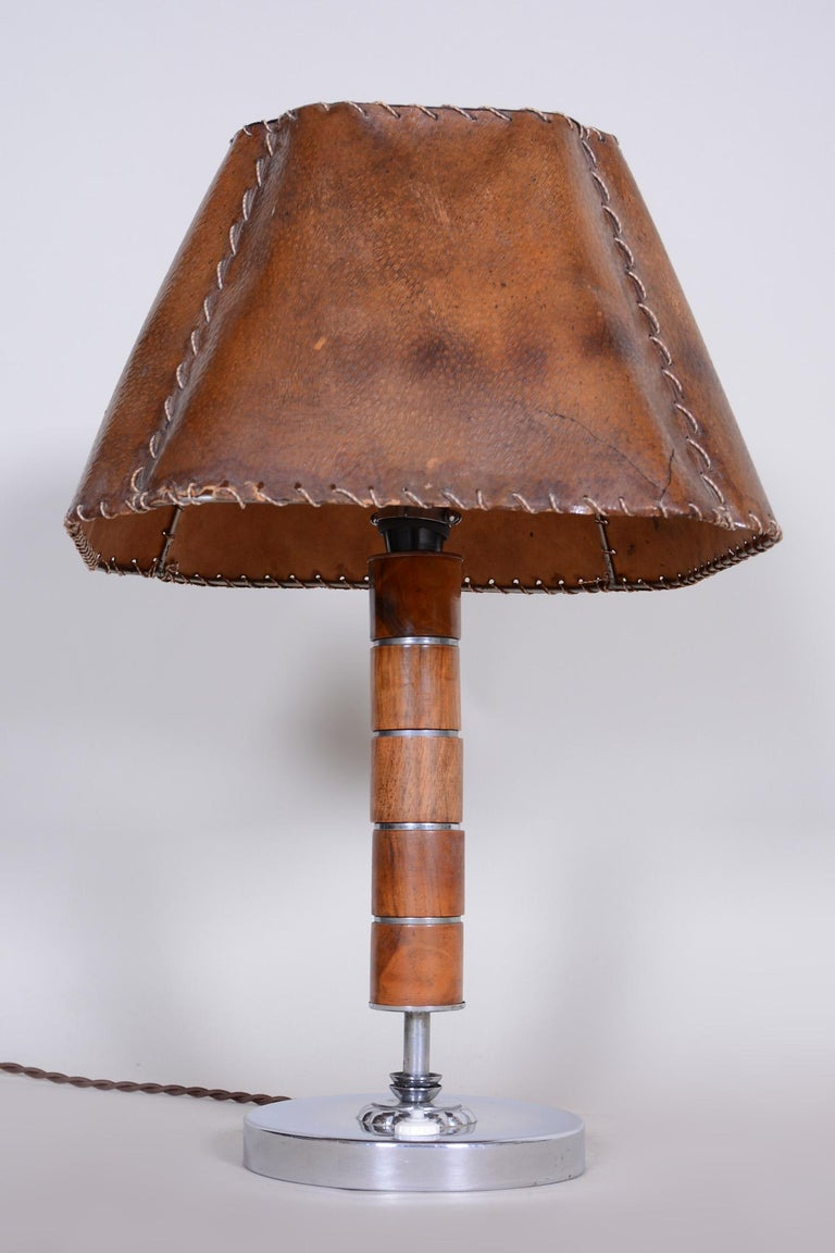 Early 20th Century Czech Art Deco Table Lamp, Fully Restored, 1920s, Walnut, Chrome and Parchment For Sale