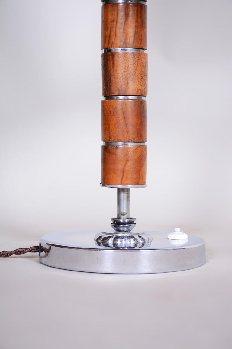 Czech Art Deco Table Lamp, Fully Restored, 1920s, Walnut, Chrome and Parchment For Sale 1