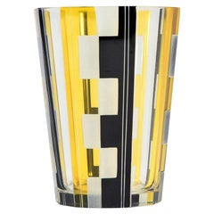 Czech Art Deco Vase with Yellow and Black Panel Cut Geometric Decoration