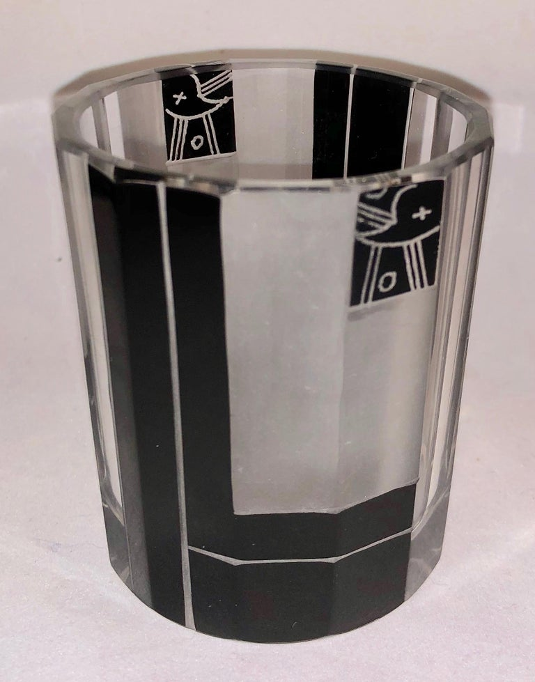 Czech Art Deco Whiskey Set Decanter and Glasses In Good Condition For Sale In Oakland, CA