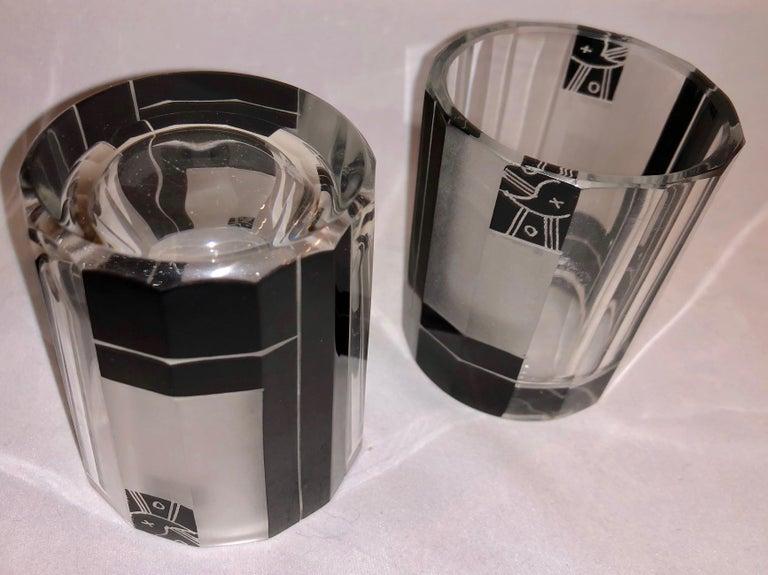 Enamel Czech Art Deco Whiskey Set Decanter and Glasses For Sale
