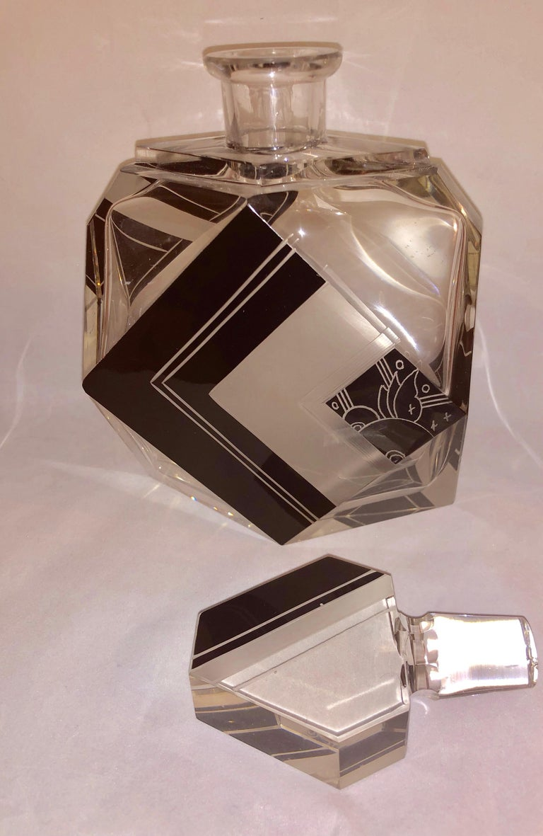Czech Art Deco Whiskey Set Decanter and Glasses For Sale 2