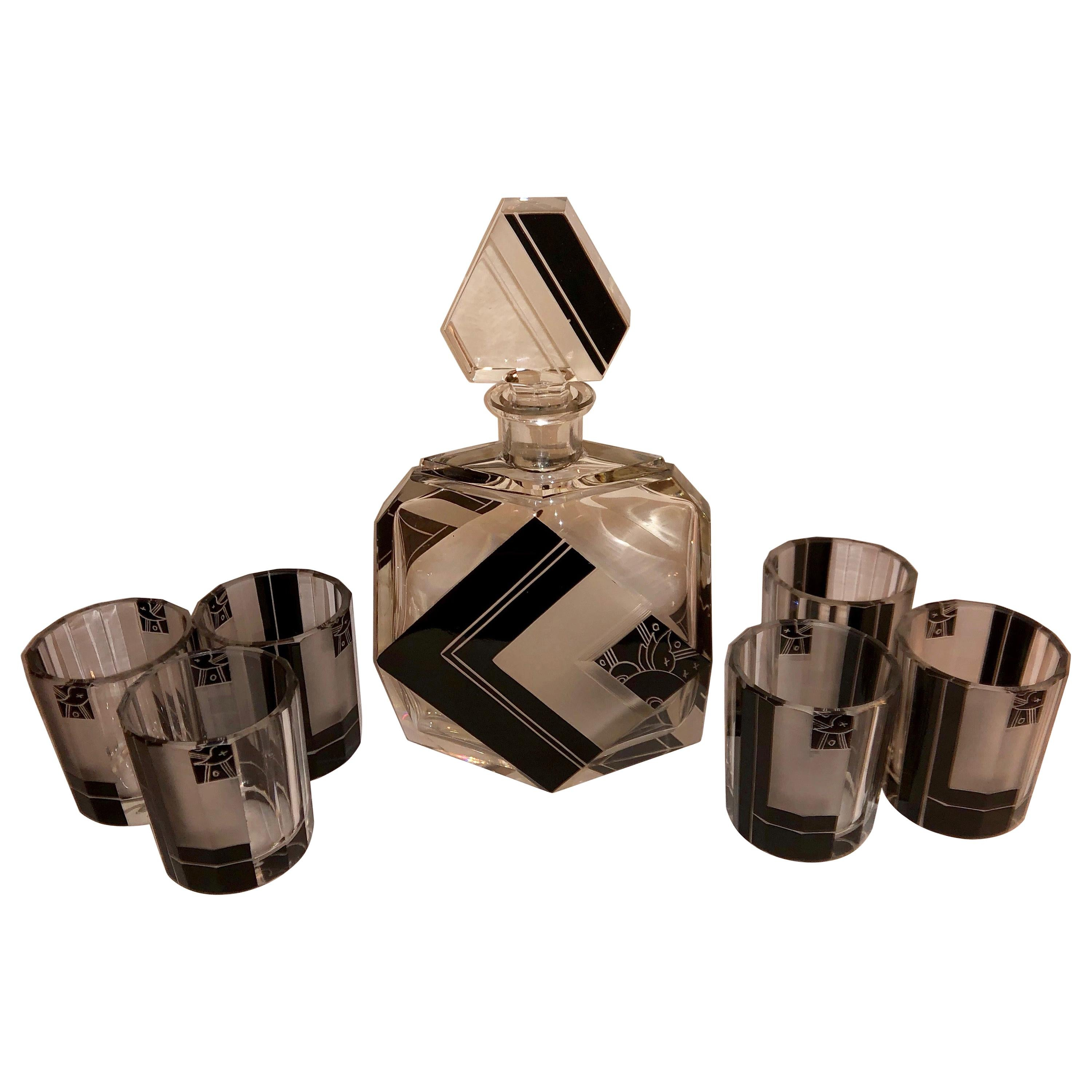 Czech Art Deco Whiskey Set Decanter and Glasses