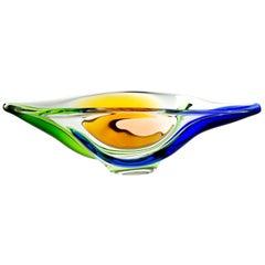 Czech Art Glass Bowl by Frantisek Zemek for Mstisov Glassworks, 1960