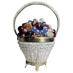 Czech Art Glass Figural Fruit and Flower Basket Lamp or Accent Light