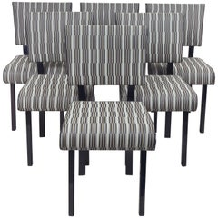 Czech Artdeco Set of Chairs, Six Pieces, Black Polish, New Upholstery Backhausen