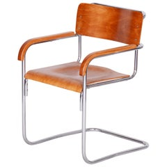 Czech Bauhaus Beech Armchair by Mücke and Melder, Chrome-Plated Steel, 1930s