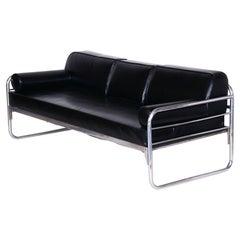 Czech Bauhaus Black Tubular Chrome Sofa by Hynek Gottwald, New Upholstery, 1930s