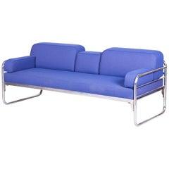 Czech Bauhaus Blue Tubular Chrome Sofa by Hynek Gottwald, New Upholstery, 1930s