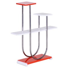 Czech Bauhaus Chrome Flower Stand by Robert Slezák, Lacquered Wood, 1930s