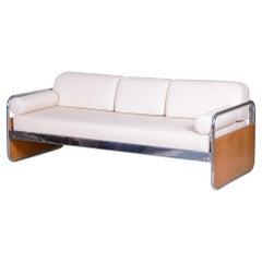 Czech Bauhaus Ivory Tubular Chrome Sofa by Hynek Gottwald, New Upholstery, 1930s