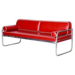 Czech Bauhaus Red Tubular Chrome Sofa by Hynek Gottwald, New Upholstery, 1930s