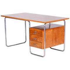 Czech Beech Bauhaus Chrome Tubular Writing Desk by Robert Slezak, 1930s