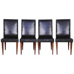 Czech Black Art Deco Chairs, 4 Pcs, Maker UP Zavody, Jindrich Halabala, 1930s