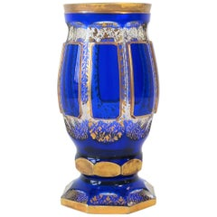 Czech Blue and Gold Bohemian Crystal Vessel, ca. Early 20th Century