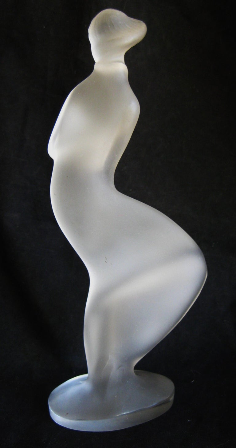 20th Century Czech Bohemian Curt Schlevogt Ingrid Art Deco Lady in the Wind Glass Statue For Sale