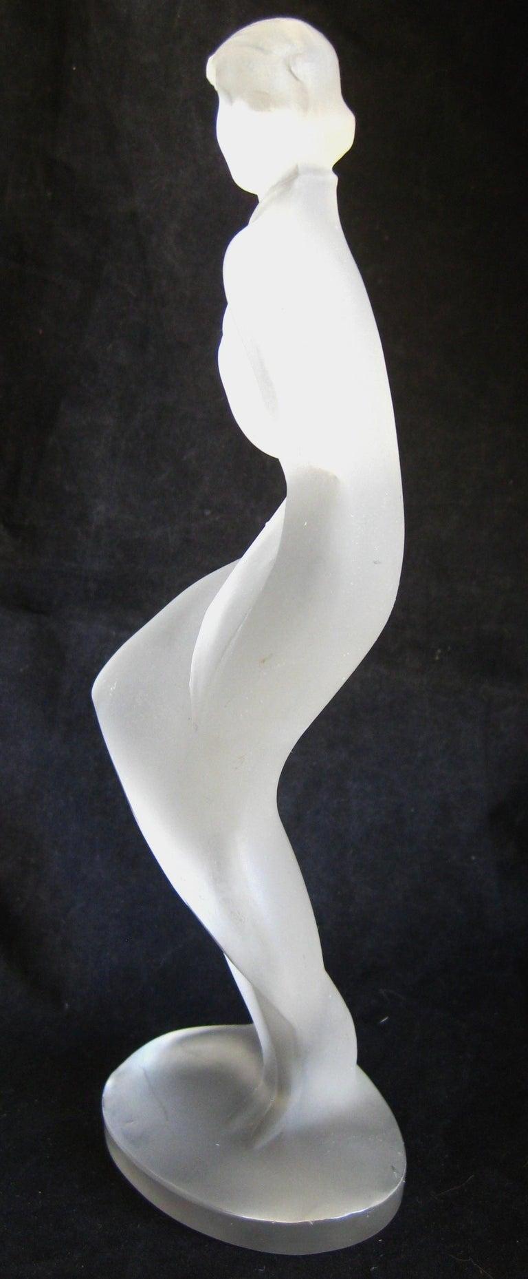Art Glass Czech Bohemian Curt Schlevogt Ingrid Art Deco Lady in the Wind Glass Statue For Sale