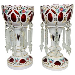 Czech Bohemian White Cut to Red Glass Hand Painted Mantel Pair of Lusters