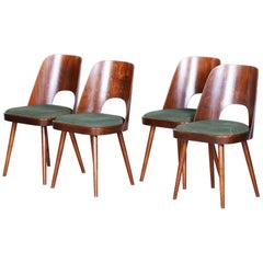 Czech Brown and Green Beech Chairs, 4 Pieces by Oswald Haerdtl - TON, 1950s